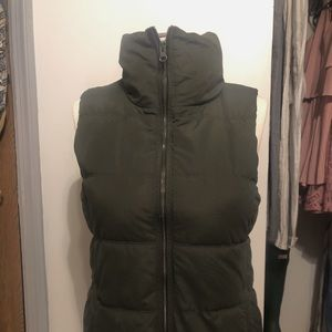 old navy army green puffer vest